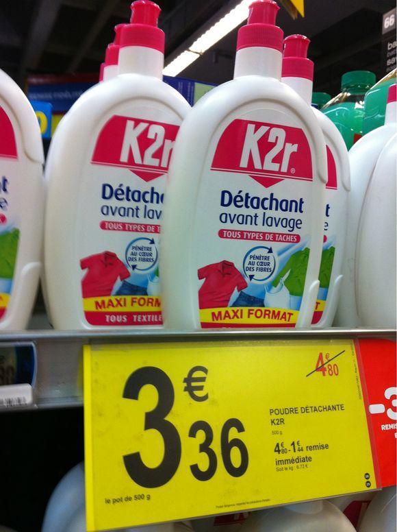 Prix K2r detachant avan lavage chez Carrefour - 3,36 euros les 500 grammes