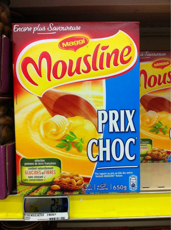 Prix puree mousline 650 grammes chez Carrefour - 2,20 euros
