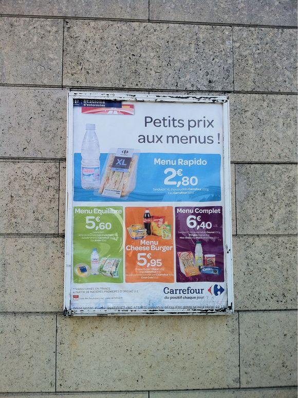Station service Carrefour autoroute A1 - prix menu rapido 2,80 euros