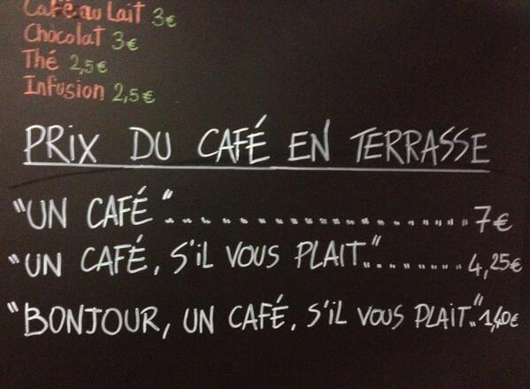 Prix cafe selon politesse