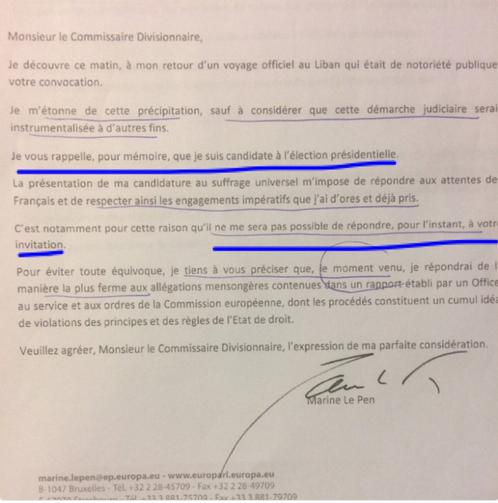 Lettre de Marine Le Pen à la police