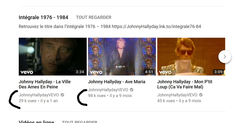 Johnny hallyday sur youtube