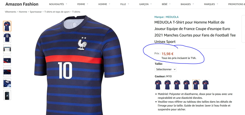 Maillot foot pas cher amazon